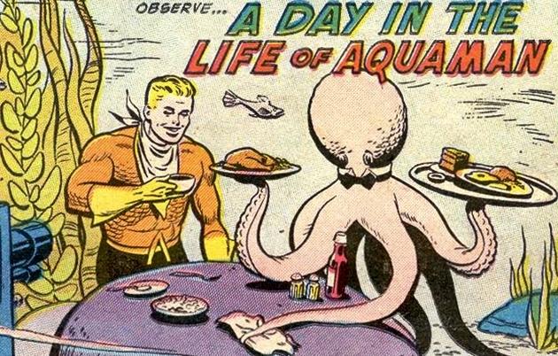 Não dava realmente para levar muito a sério o Aquaman na Era de Ouro. rs