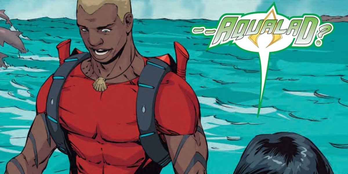 Aqualad teve diversas versões, mas a versão apresentada na animação Teen Titan e depois nos Quadrinhos é mais legal.