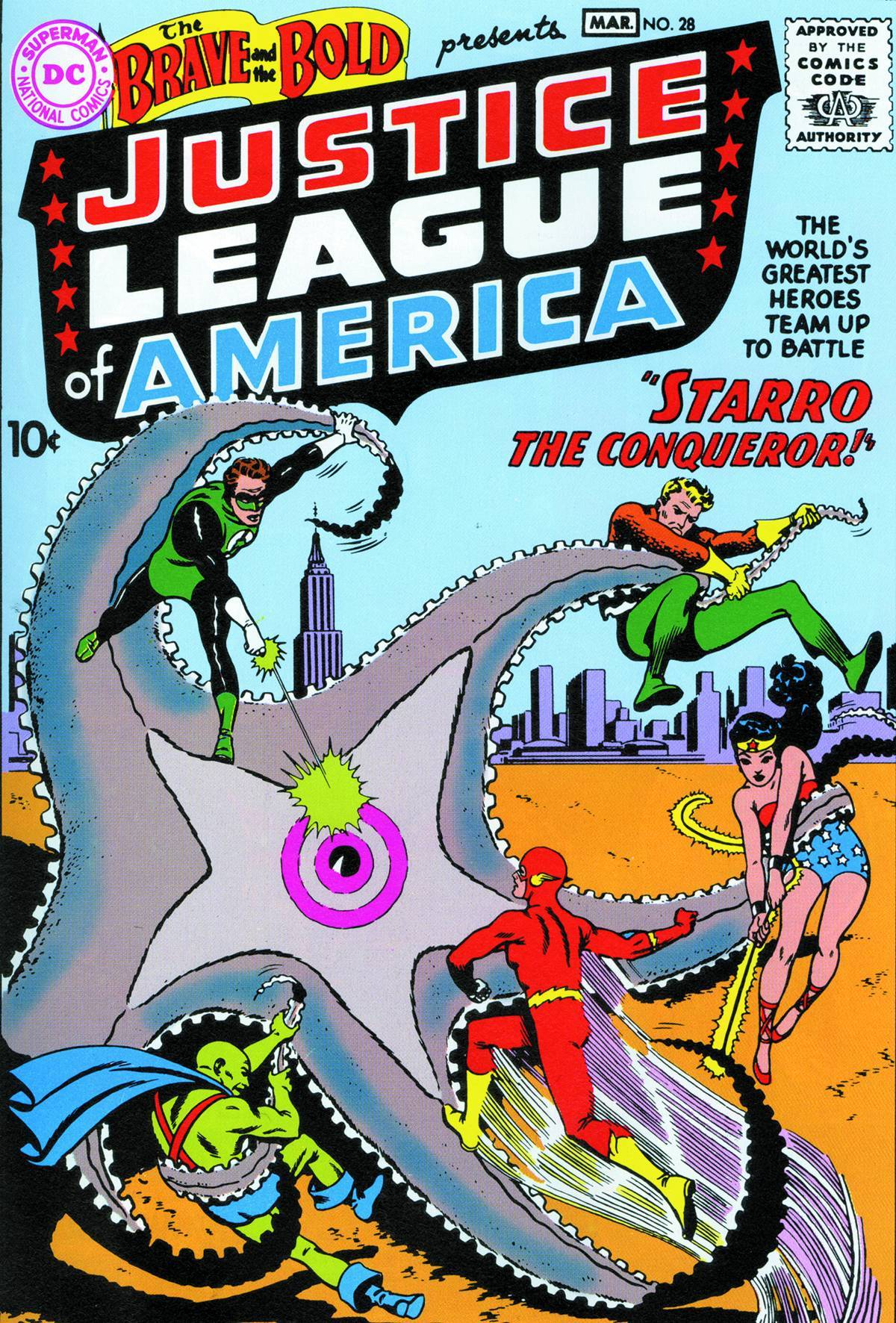 Starro as seen on the cover of Brave and the Bold #28 (Feb. – March 1960)
