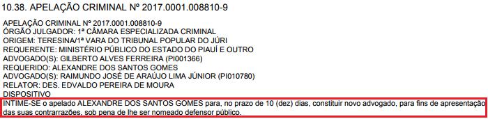 Publicação no Diário da Justiça do Piauí