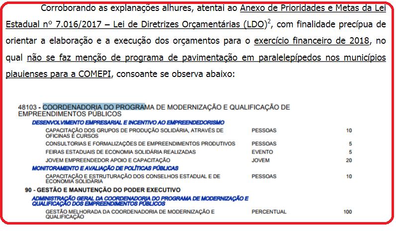 Informações extraídas do relatório técnico do Tribunal de Contas