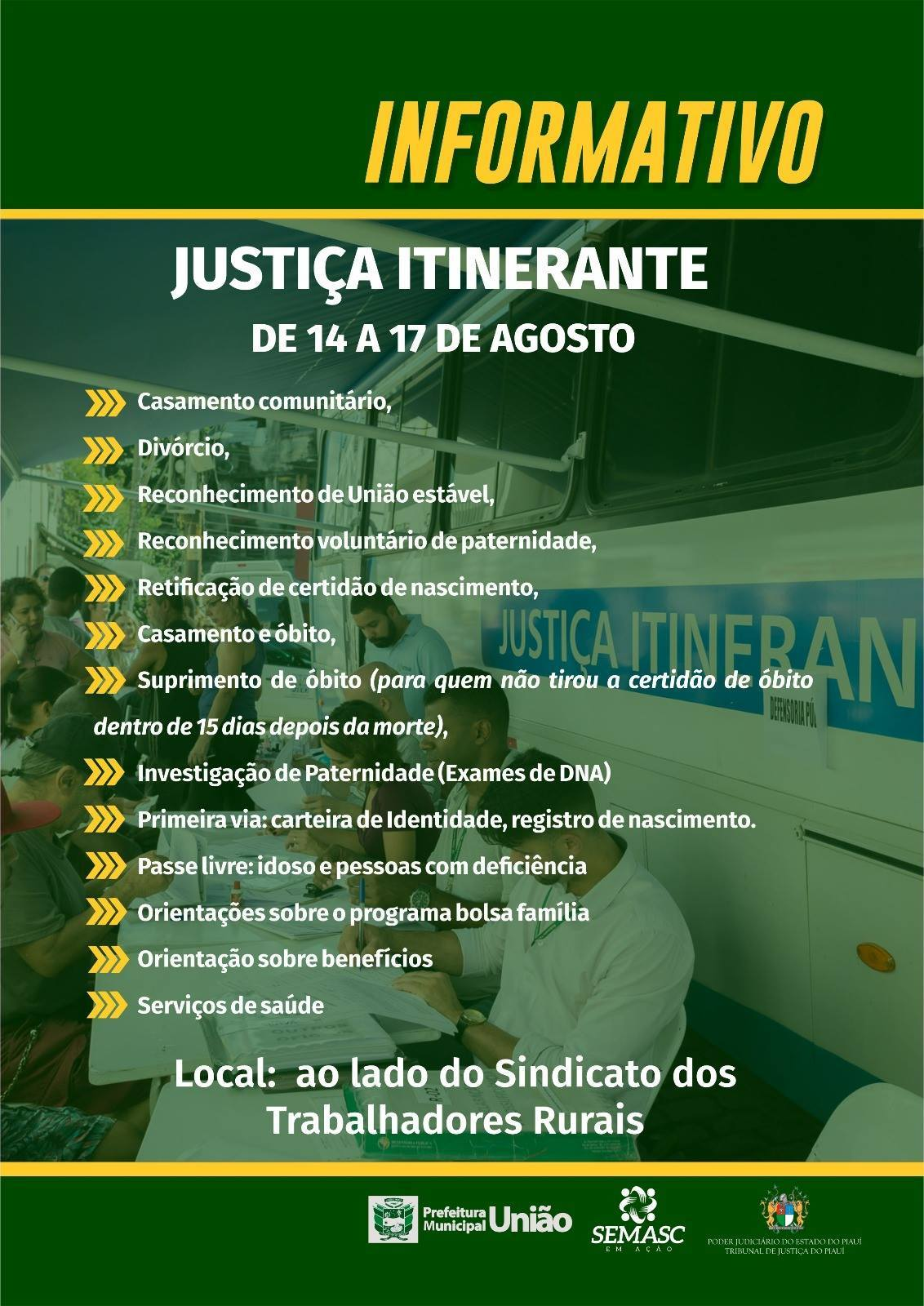Justica Itinerante Calendario 2019 Campo Grande Ms.Prefeitura De Uniao Realiza Justica Itinerante Oferecendo