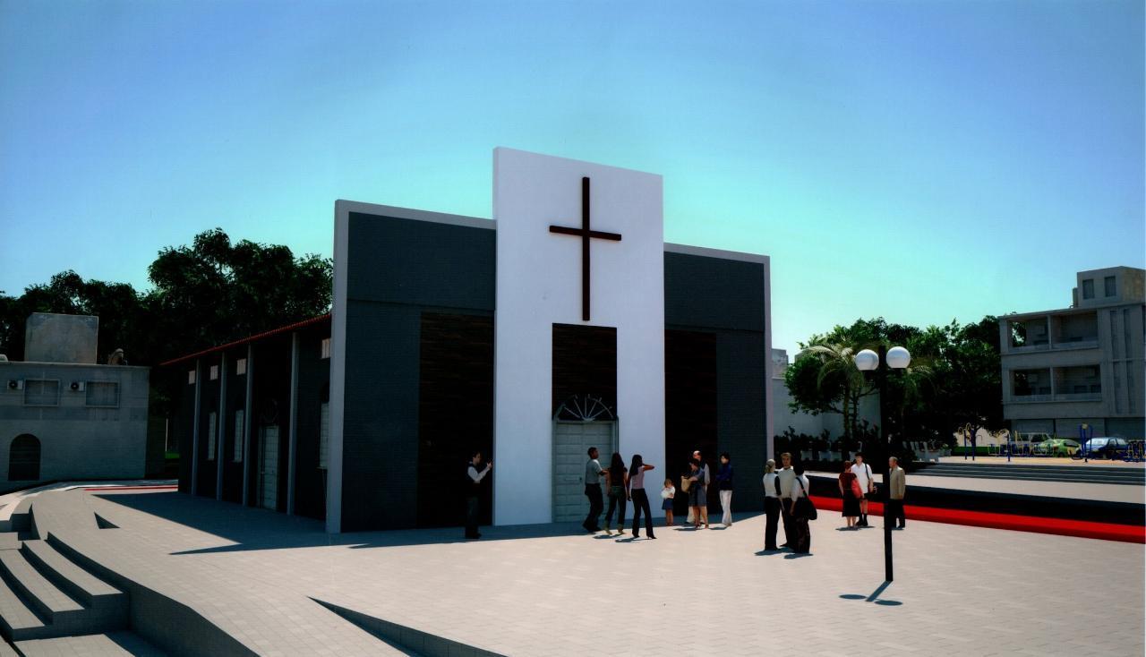 Maquete eletrônica da nova fachada da igreja
