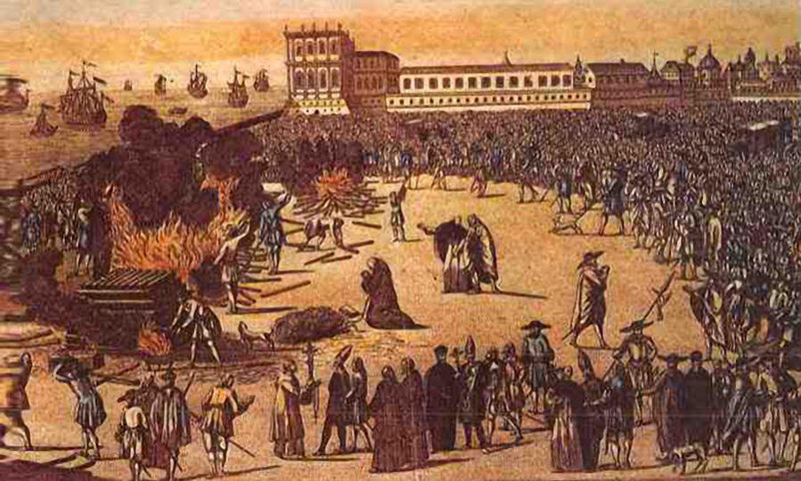 Ilustração da Praça do Rossio, em Lisboa-Portugal, onde foi queimado o jesuíta Padre Malagrida