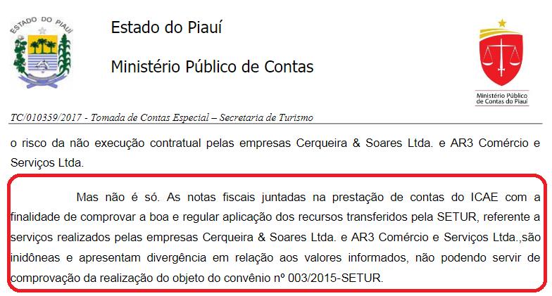 Trecho do parecer do Ministério Público de Contas