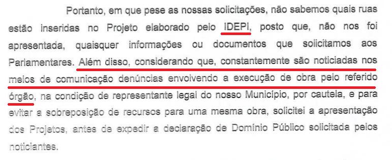 Trecho de documento encaminhada pela Prefeitura de Pajeú ao Ministério Público