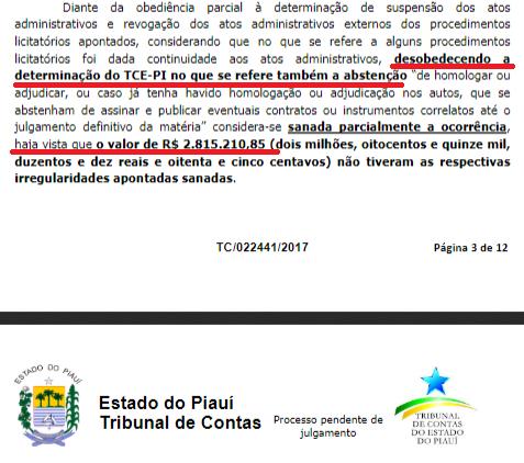 Trecho do segundo relatório que evidencia desrespeito do IDEPI à ordem do Pleno do TCE