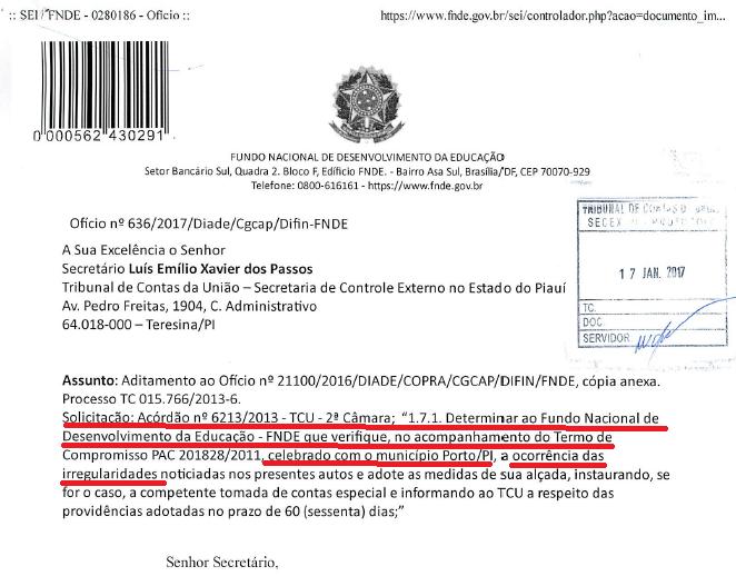 Documento do FNDE endereçado ao Tribunal de Contas da União a respeito da tomada de contas especial
