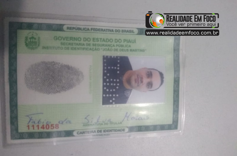 Documento falso do suspeito