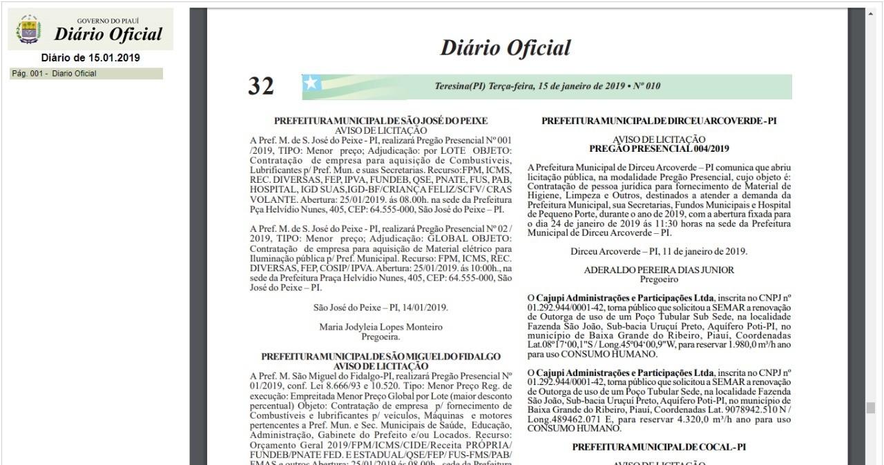 3cf61928e3 Prefeitura de Dirceu do Piauí contratará empresa de fornecimento de ...