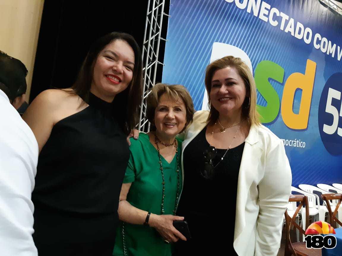 Presidente do PSD Nacional, Alda Marco Antônio, presidente do PSD Mulher Estadual, Simone Pereira e presidente do PSD Mulher Municipal de Teresina, Fernanda Lobo