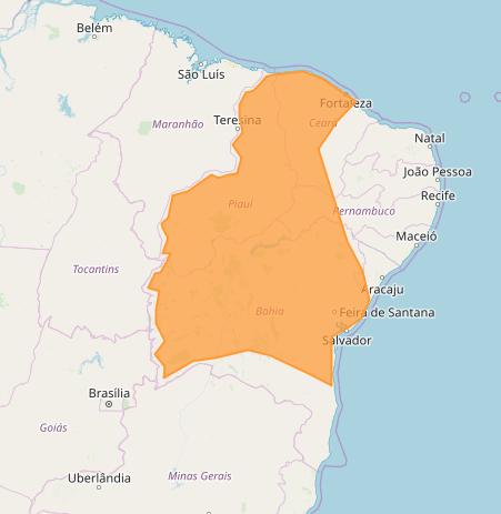 Mapa das áreas com alerta de acumulado de chuva