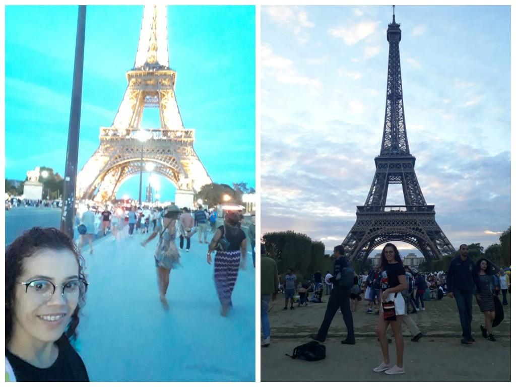 Consuelo Rodrigues na Torre Eiffel, em Paris, na França.