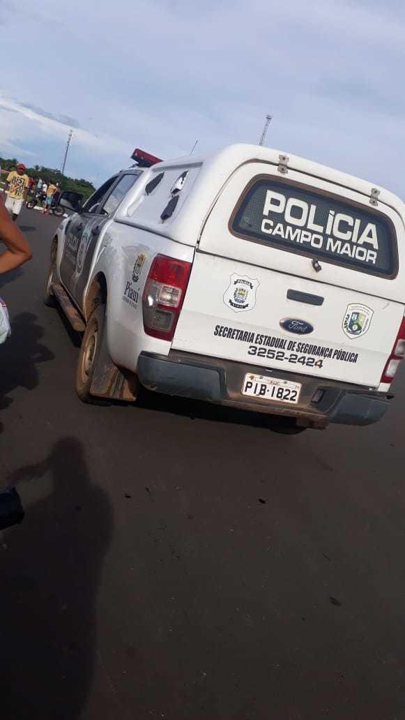 Viatura da Polícia Civil na barragem
