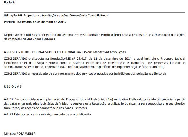 Portaria publicada no Diário da Justiça Eleitoral