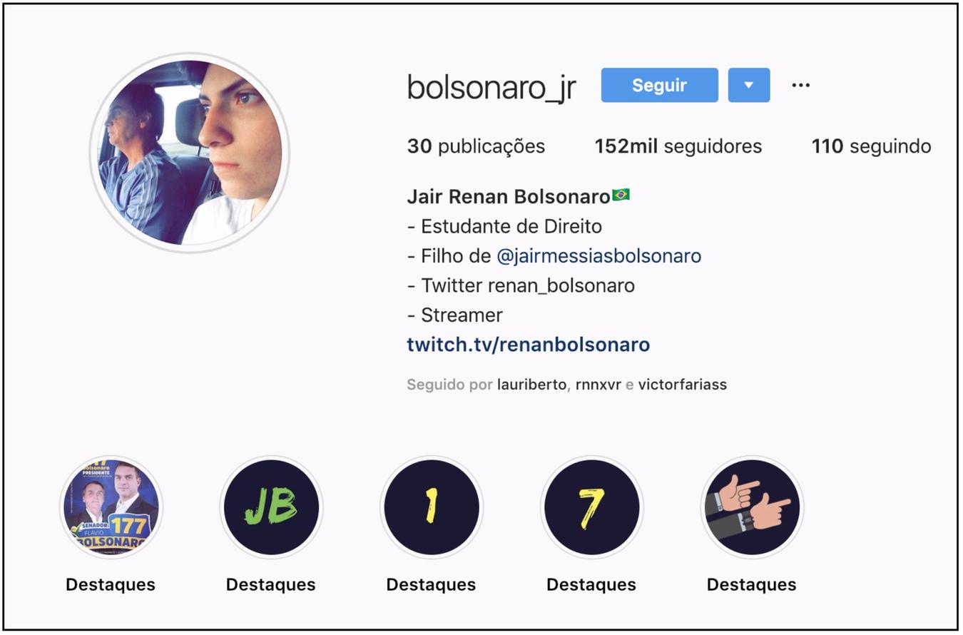 O 4º filho de Jair Bolsonaro é 1 usuário menos assíduo das redes sociais, em comparação ao pai e aos irmãos mais velhos. Durante a semana, chamou usuários para participar de protesto em apoio ao presidente.