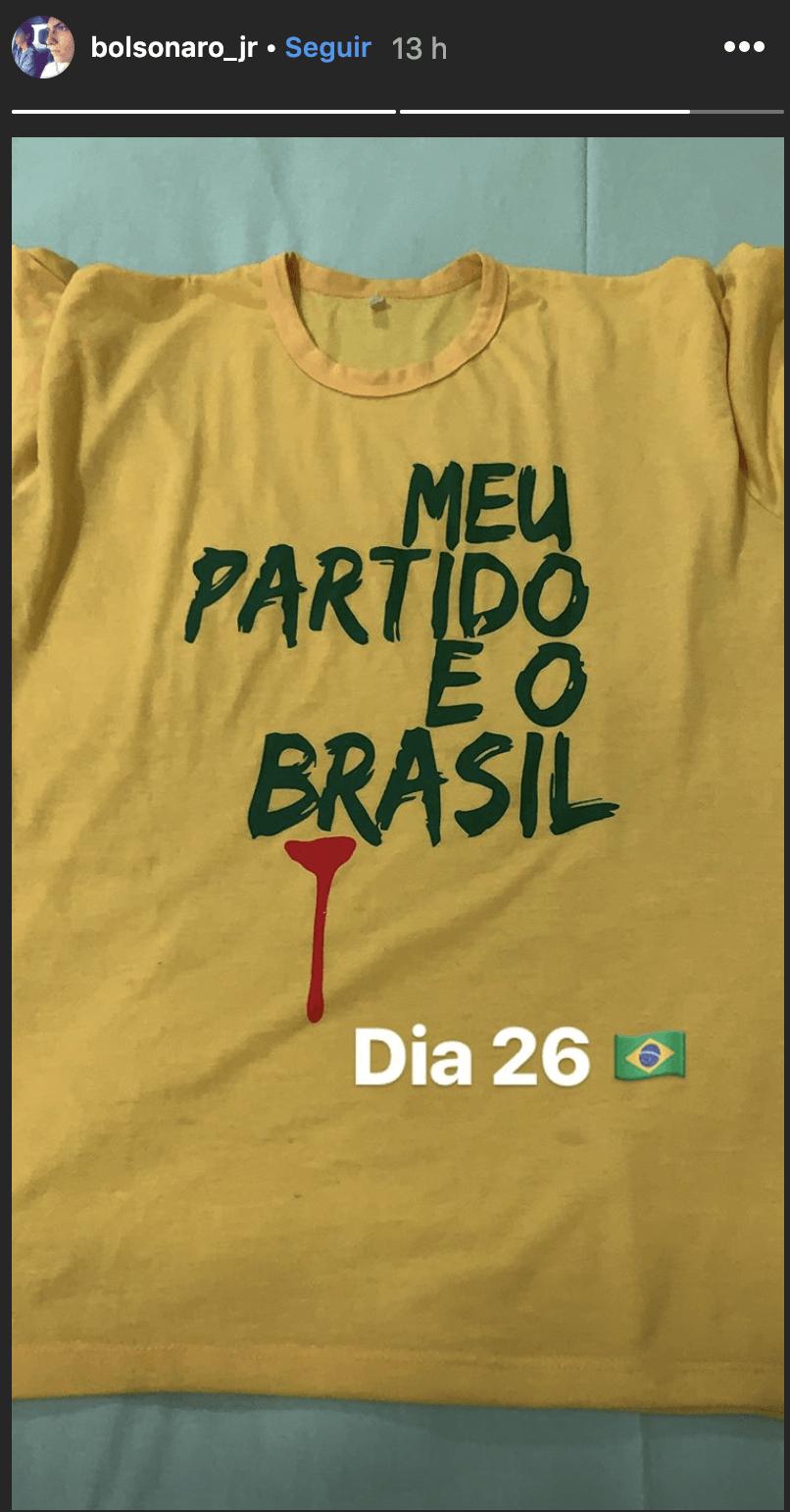 Ainda na 3ª, Jair Renan postou uma imagem de camiseta com a mensagem