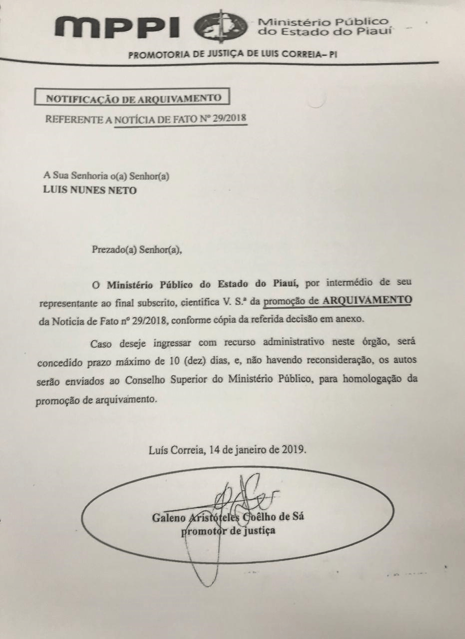O arquivamento de denúncia de Luís Neto contra Mauro Monção