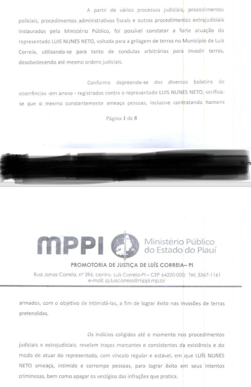 Trecho do pedido de presião preventiva para Luís Neto, formulado pelo Ministério Público em Luís Correia