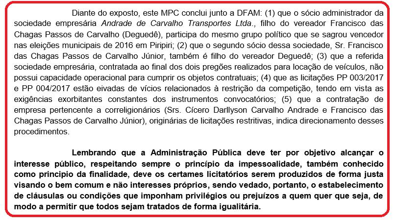 Detalhes do parecer do Ministério Público de Contas