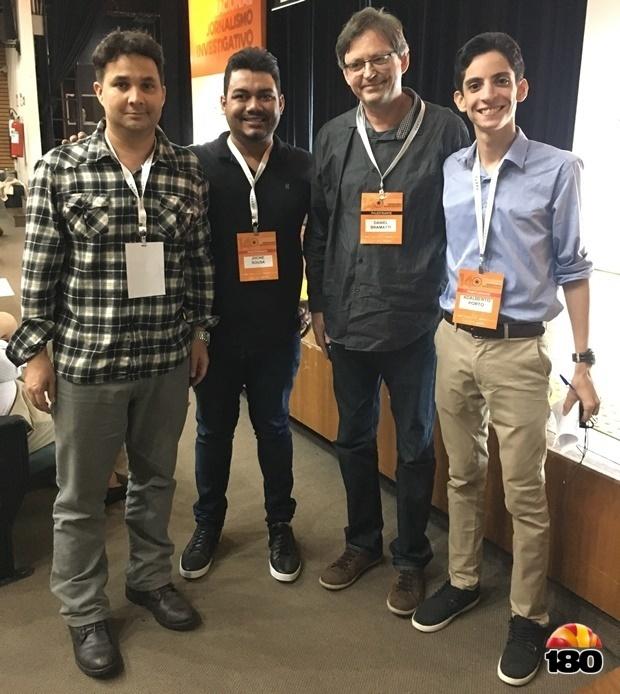 Rômulo Rocha, jornalista do 180, Jhone Sousa, editor do portal, o presidente da Abraji, Daniel Bramatti, e o advogado Adalberto Brito