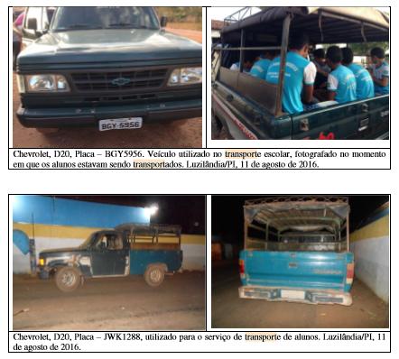 Registro dos técnicos da CGU. Transporte escolar em Luzilândia