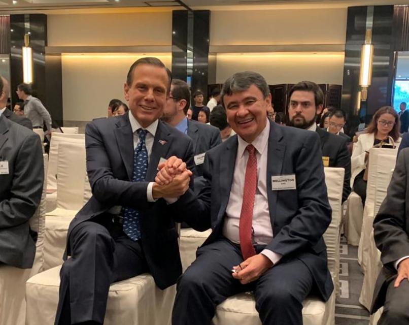 Os governadores João Doria (PSDB-SP) e Wellington Dias (PT-PI) encontraram-se na China