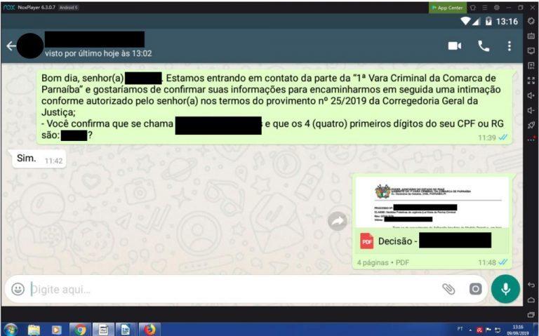 Print da primeira intimação via WhatsApp feita pela 1ª Vara Criminal de Parnaíba