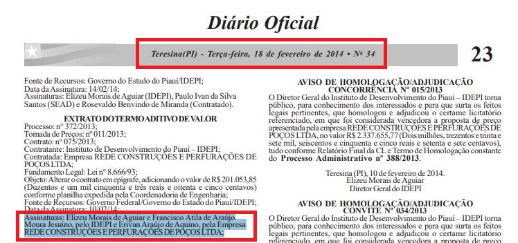 _Extrato aditivo assinado por Elizeu Aguiar alguns dos investigados, engenheiro Átila Jesuíno e Rede, durante o governo de Wlilson Martins
