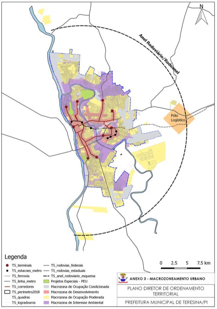 No mapa, as áreas em vermelho, são aquelas onde a prefeitura irá incentivar a construção ou requalificação de moradias, visando o adensamento do perímetro urbano