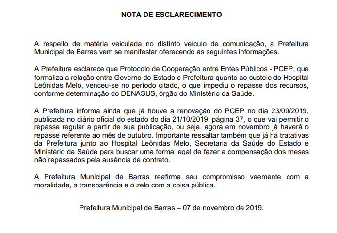 Prefeito de Barras abandonou hospital do município há sete meses e não honra repasses de recursos 2