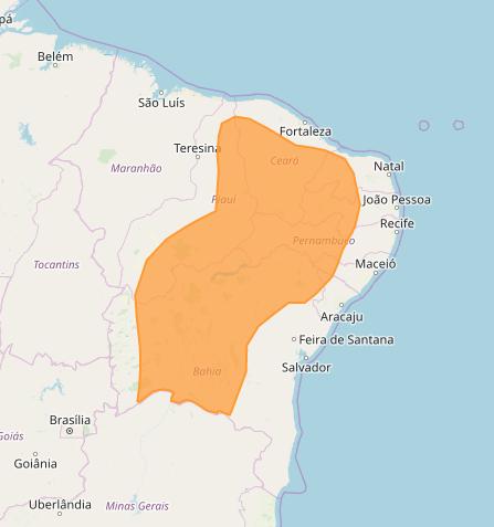 Mapa das áreas afetadas