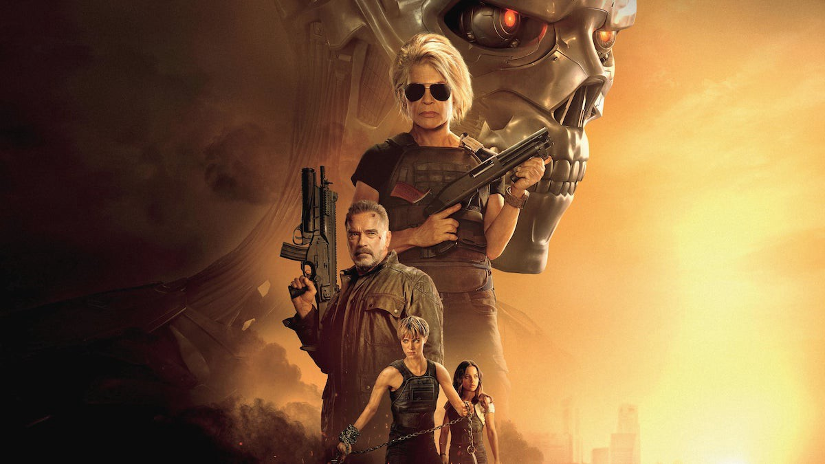 Linda Hamilton, Arnold Schwarzenegger, Natalia Reyes, e Mackenzie Davis em Exterminador do Futuro: Destino Sombrio (2019)