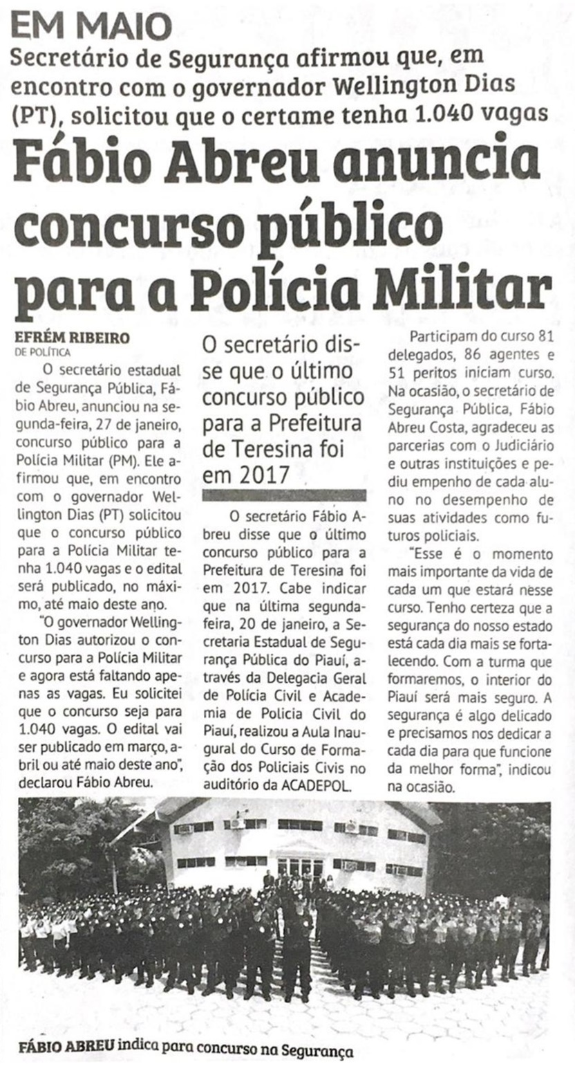 Fábio Abreu anuncia concurso com 1.040 vagas para a Polícia Militar 2