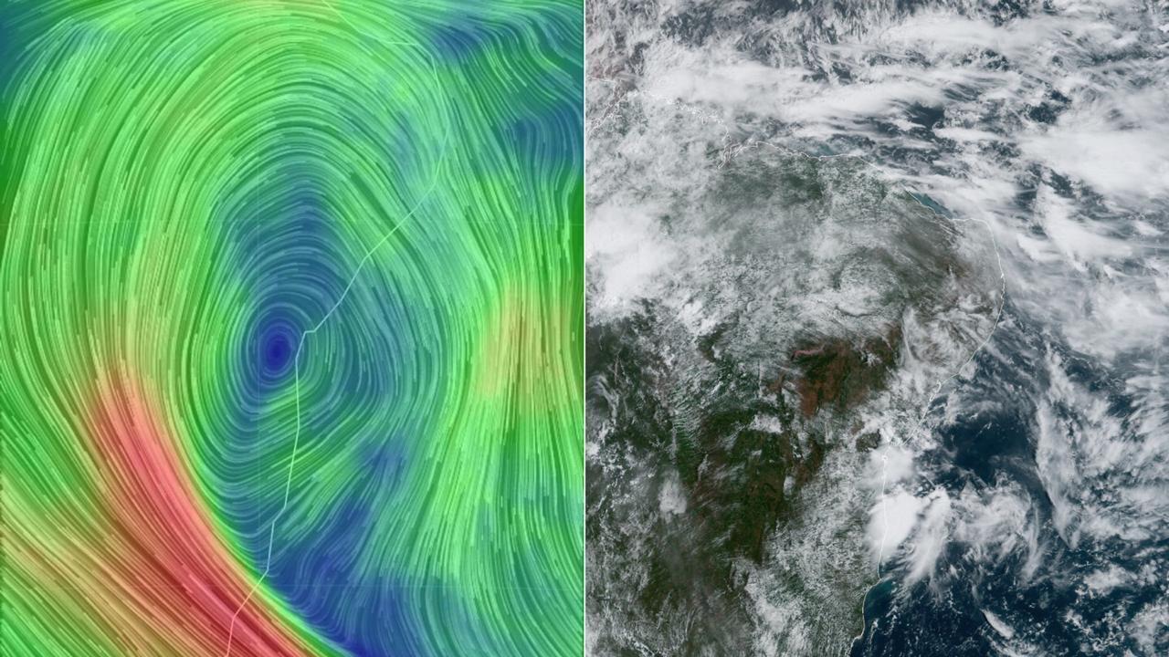 Mapa e imagem de satélite evidenciam atuação do Vórtice Ciclônico de Altos Níveis sobre o Nordeste