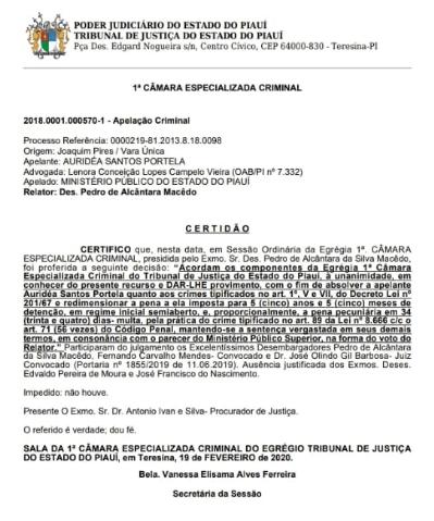 Câmara do Tribunal de Justiça do Piauí condena ex-prefeita a 5 anos e 5 meses de prisão