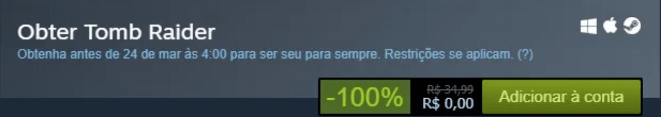 Botão para resgatar Tomb Raider de graça na Steam.