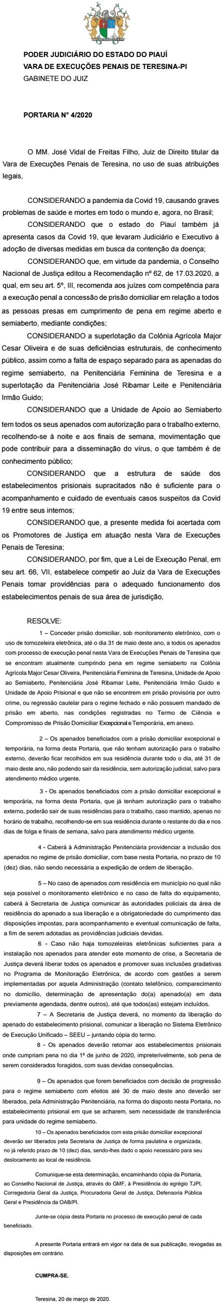 Piauí: 480 presos do regime semiaberto são liberados de penitenciárias para evitar transmissão do coronavírus 2