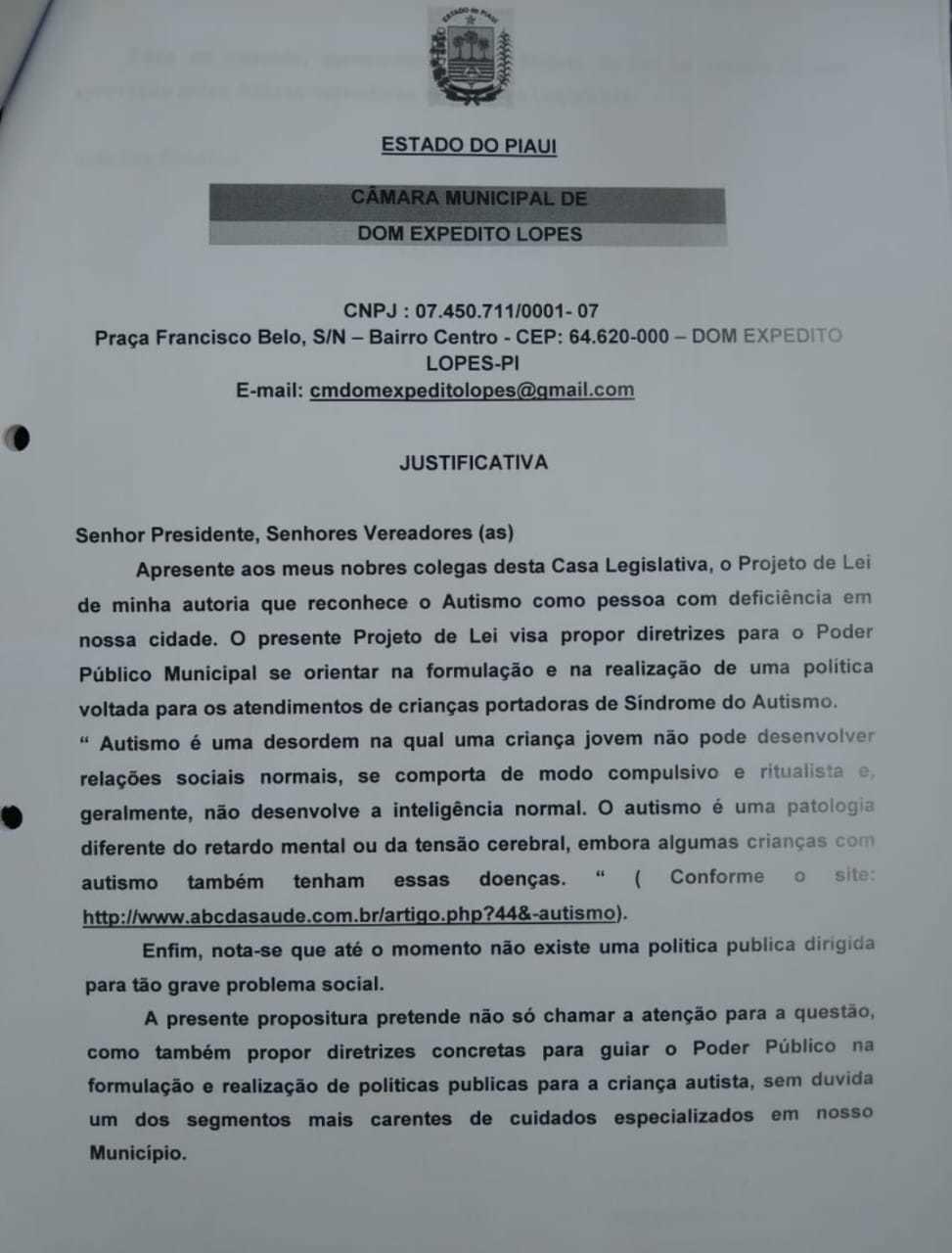 Projeto de Lei Nº 47