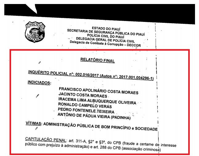_Trecho de documento da Polícia Civil  (Imagem: reprodução)