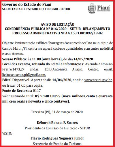 _A mais cara das licitações relançadas é para obra em Campo Maior (Imagem: Reprodução)