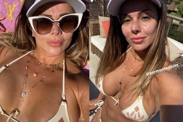 Viviane Araújo ostenta boa forma de biquíni em plena quarentena