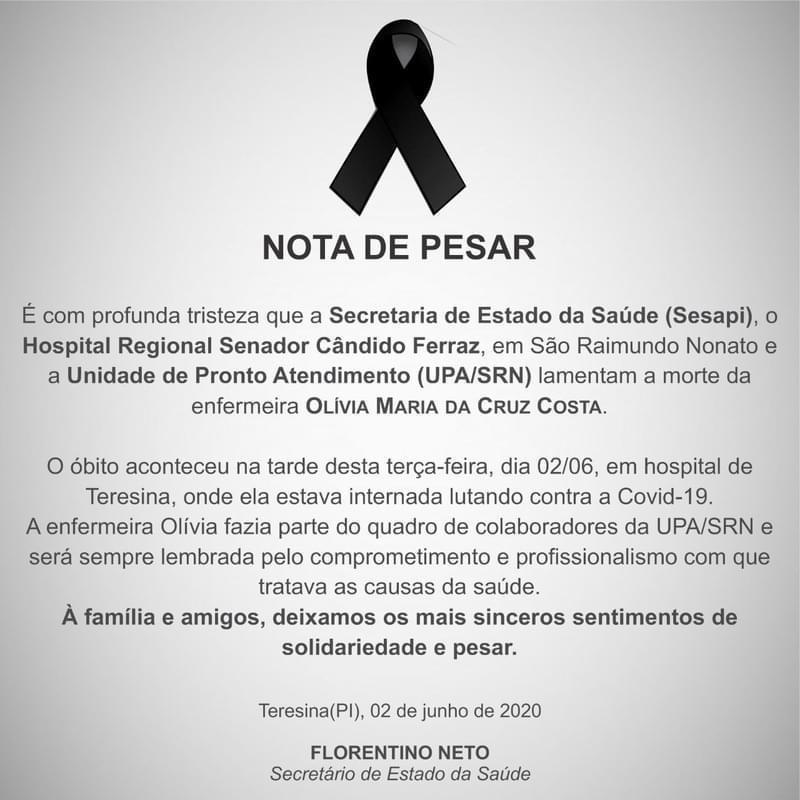 Enfermeira da UPA de São Raimundo Nonato morre por coronavírus em Teresina 2
