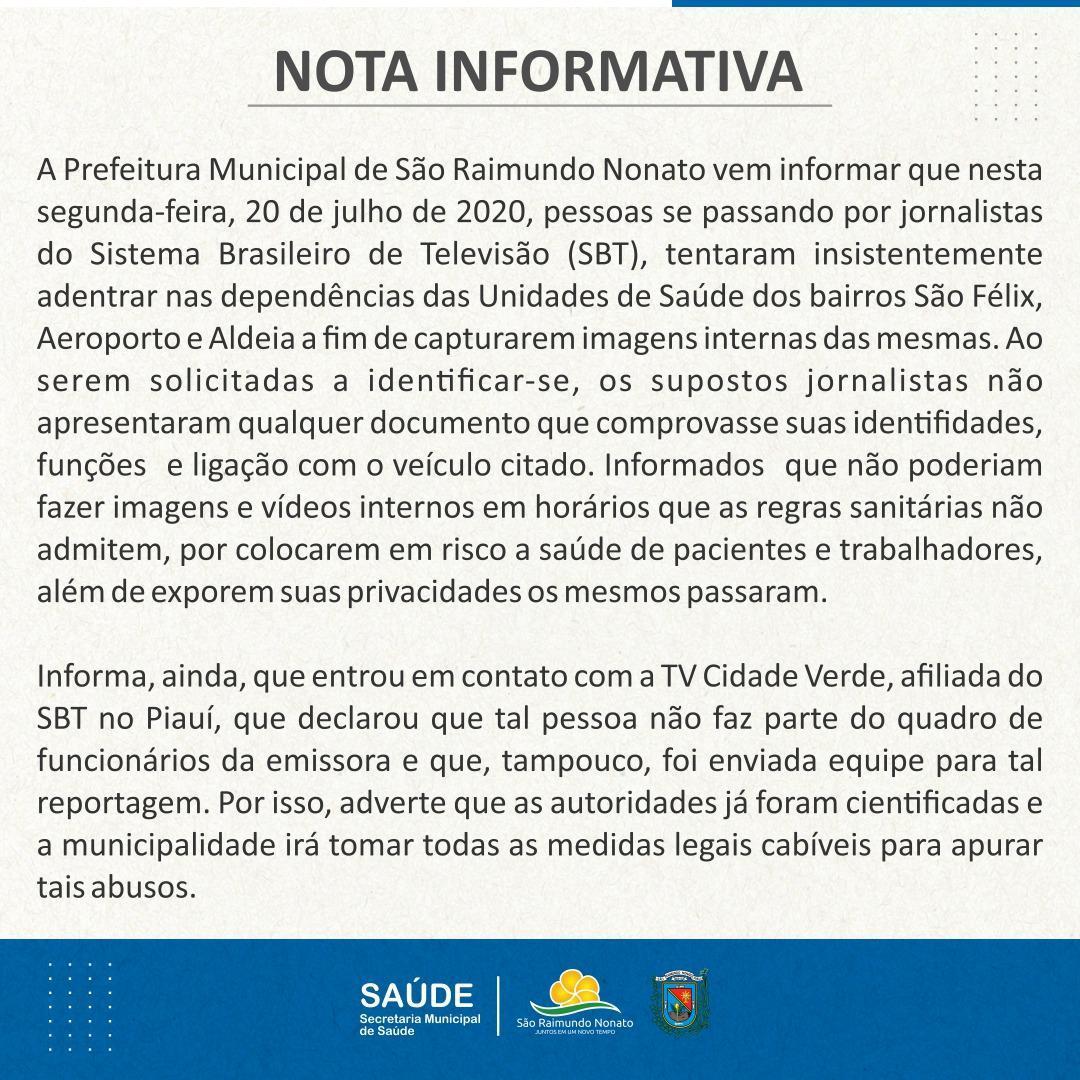 Prefeitura faz alerta sobre falsa equipe de reportagem do SBT em cidade no Piau 2