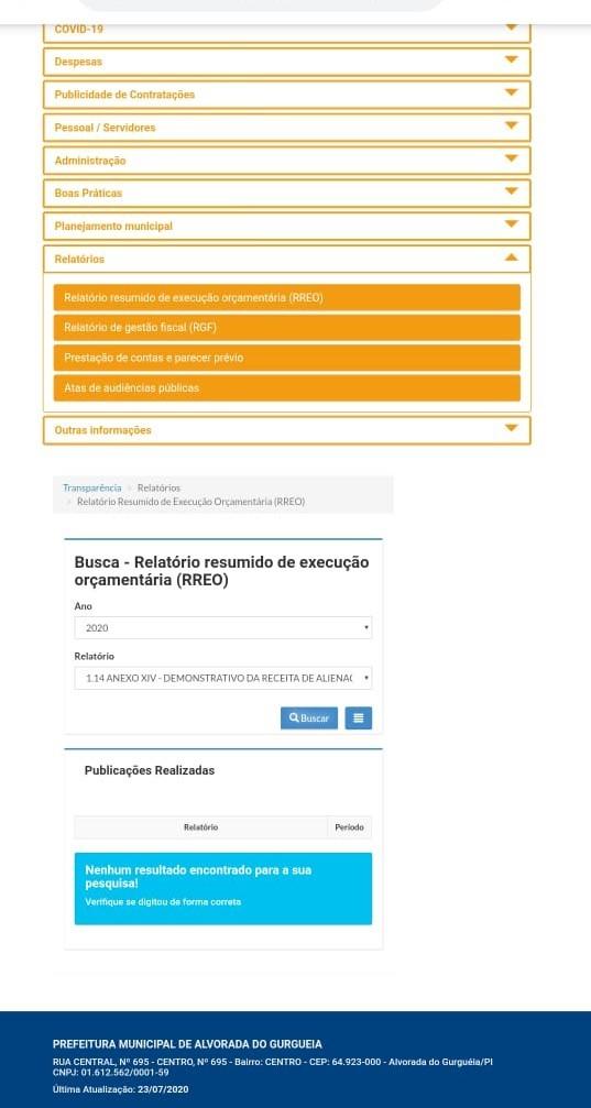 Imagens de informações do Portal da Transparência.