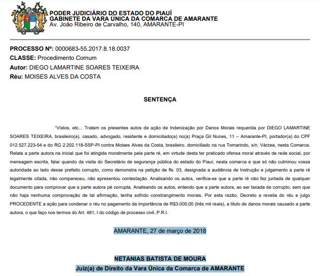 _Reprodução de íntegra de sentença do juízo da Vara Única de Amarante
