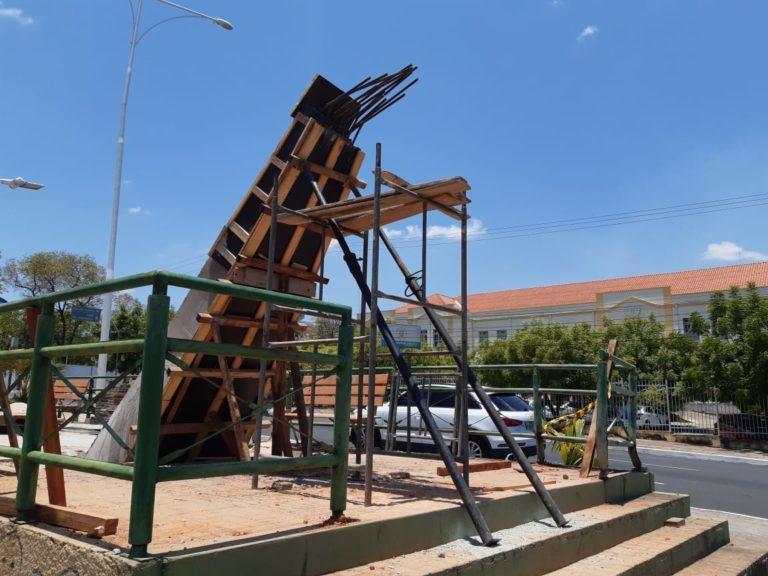 Imagem capturada pela Coordenadoria de Perícias e Pareceres Técnicos do MPPI, ainda durante a execução das obras