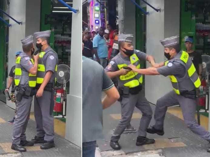 Policiais militares se desentendem na esquina das ruas Santa Ifigênia e dos Timbiras, na região central de São Paulo, neste sexta-feira (4)
