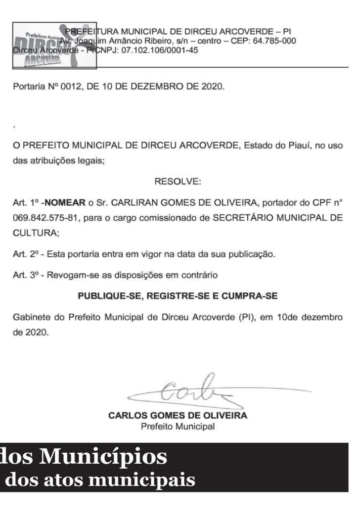_Reprodução da nomeação que consta do Diário dos Municípios