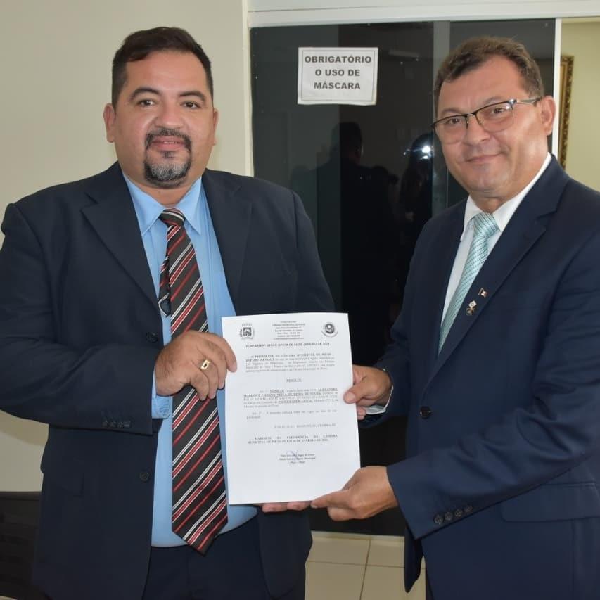 Alexandre Neiva e o presidente da Câmara Francisco das Chagas Sousa (Chaguinha)